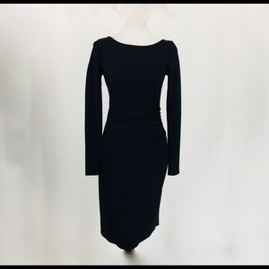 Long Sleeve Black Knit Ruched Dress Kenneth Cole